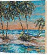 Palm Reflection Lagoon Wood Print