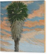 Palm Sunrise Wood Print