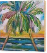 Palm Tree Color Times Two Wood Print