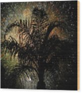 Palm Tree Fireworks Wood Print