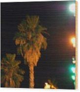 Palm Tree Glow Wood Print