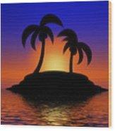 Palm Tree Island Wood Print