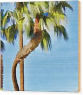 Palm Tree Needs A Chiropractor Painterly I Wood Print