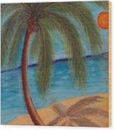 Palm Tree On The Beach Wood Print