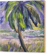 Palm Tree On Windy Beach Wood Print