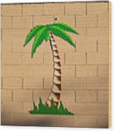 Palm Tree Sign Wood Print