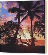 Palm Tree Silhouette Wood Print