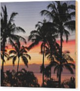 Palm Tree Silhouettes Wood Print