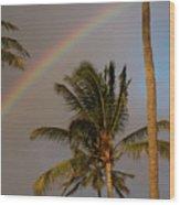 Palm Trees And Rainbow Wood Print