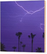 Palm Trees And Spider Lightning Striking Wood Print