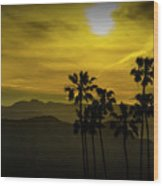 Palm Trees At Sunset With Mountains In California Wood Print