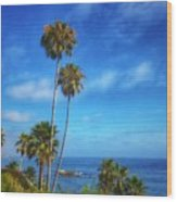 Palm Trees On The Pacific Wood Print