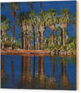 Palm Trees On The Water Wood Print