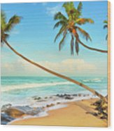 Palm Trees Over The Sea Wood Print