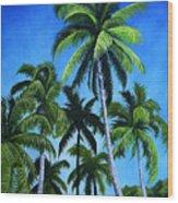 Palm Trees Under A Blue Sky Wood Print