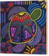 Palm Turtle Mola Wood Print