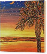 Palmetto Sunset  Wood Print