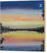 Palmetto Tree And Moon Low Country Sunset Wood Print