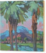 Palms And Coral Mountain Wood Print