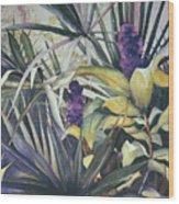 Palms And Hyacinths Wood Print