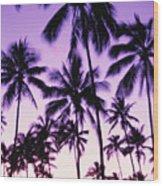 Palms And Purple Sky Wood Print