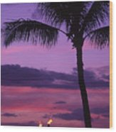 Palms And Tiki Torches Wood Print