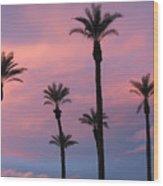 Palms At Sunset Wood Print