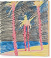 Palms At The Night Wood Print