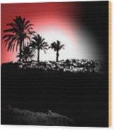 Palms Black White Red Wood Print