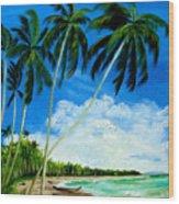 Palms By The Ocean Wood Print