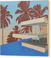Palms On The Edge Wood Print