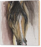 Palomino Arabian Horse Watercolor Portrait Wood Print