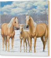 Palomino Horses In Winter Pasture Wood Print by Crista Forest