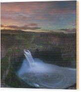 Palouse Falls Sunrise Wood Print