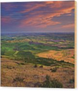 Palouse Skies Ablaze Wood Print