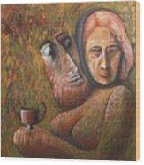 Pan And  Ariadne Wood Print