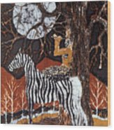 Pan Calls The Moon From Zebra Wood Print by Carol Law Conklin