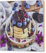 Pancakes With Chocolate Sauce Wood Print