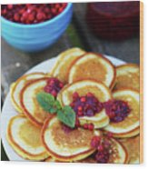 Pancakes With Cranberry Jam Wood Print