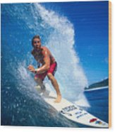 Pancho Makes The Wave Wood Print by Vince Cavataio - Printscapes