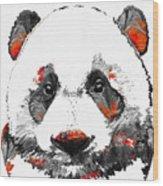 Panda Bear Art - Black White Red - By Sharon Cummings Wood Print