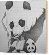 Panda Collage Wood Print