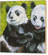 Panda Date Wood Print by Susan A Becker