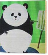 Panda Drawing Bamboo Wood Print by Lael Borduin