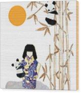 Panda Girl By Mary Ellen Palmeri Wood Print
