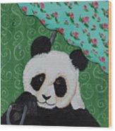 Panda In The Rain Wood Print