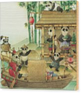 Pandabears Christmas 03 Wood Print by Kestutis Kasparavicius