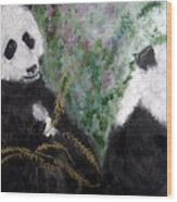 Pandas With Golden Bamboo Wood Print