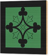 Panel - Black And Green Clover Style Greek Cross Wood Print