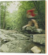 Panned View Of Man Leaping Over Rocky Wood Print by Skip Brown